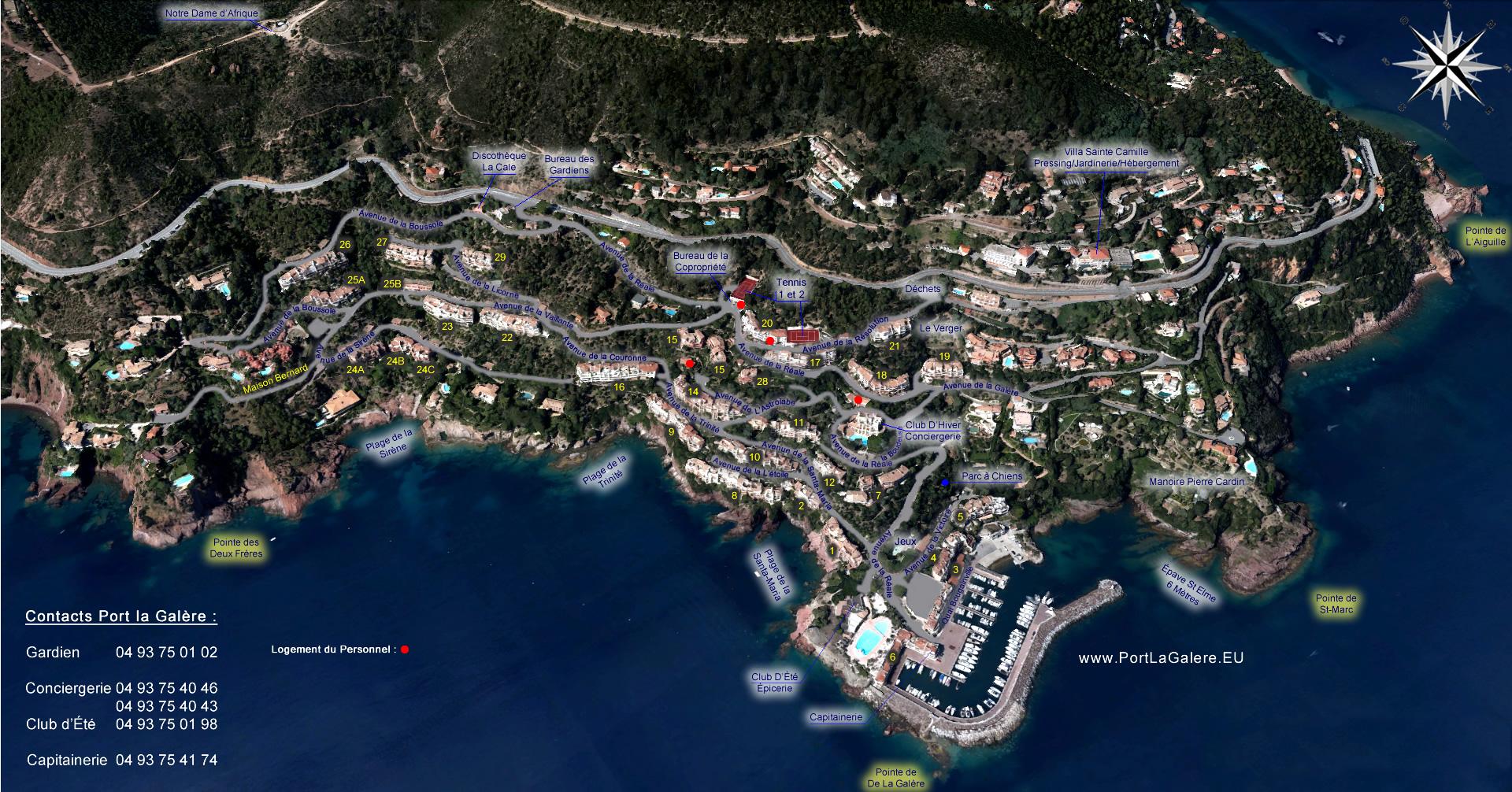 Vue satellite avec descriptif de Port La Galère